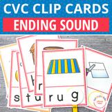 CVC Word Family Ending Sound Clip Cards