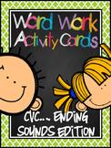 CVC  *Ending Sound*  Word Work Activity Cards (or Center)
