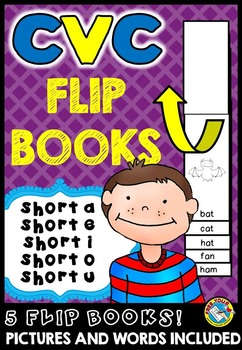 SHORT VOWELS PRINTABLES: CVC WORDS FLIP BOOKS: CVC WORDS READING FLUENCY BOOKS