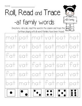 CVC Family Words Roll, Read, & Trace