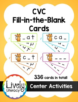 Lively Literacy CVC Fill-in-the-Blank Cards