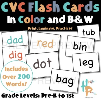 CVC Flash Cards in Color and B&W