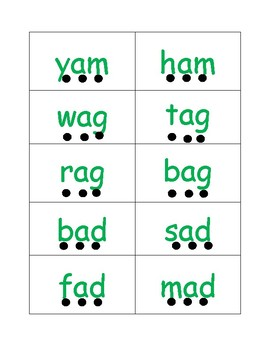 CVC Flashcards with Dots for Segmenting