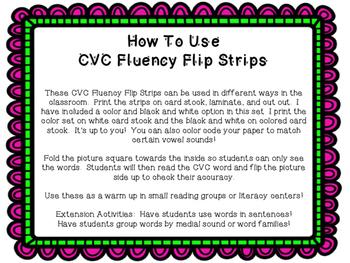 CVC Fluency Word Flip Strips
