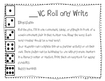 "CVC Game ""_VC"" Roll and Write"