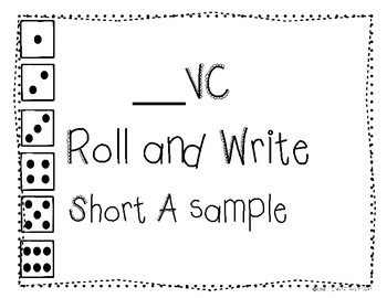 """CVC Game """"_VC""""  Roll and Write Short A sample"""