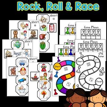 CVC Games: Kindergarten Games for Short Vowel Word Work Centers & Phonics Fun