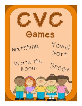 CVC Games: Write the Room, Scoot, Vowel Sort, & Matching