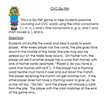 CVC Go Fish 1.1 Phonics Practice Game