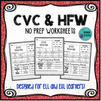 CVC & HFW NO-PREP Worksheets
