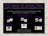 CVC Hands-On Activity Pack- flashcards, reading, matching,