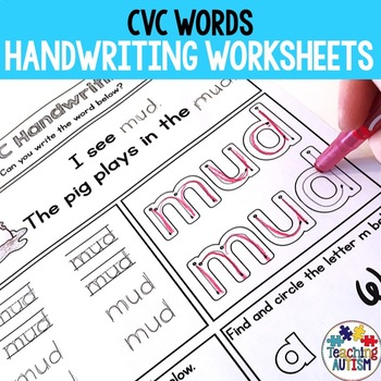 CVC Words Worksheets for Handwriting