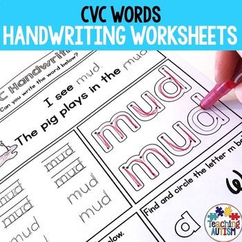 CVC Handwriting Practice Worksheets