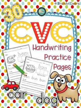 CVC Handwriting Practice Pages