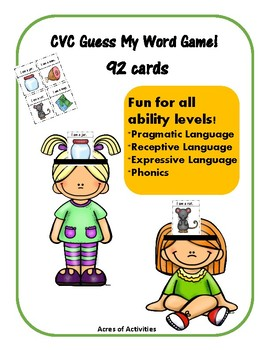 CVC Headbands Game -  Fun Pragmatic and Receptive Language Skills