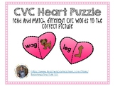 CVC Heart Puzzle Word and Picture Matching