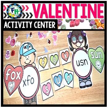 Valentine Activity Center {CVC Heart Unscramble}
