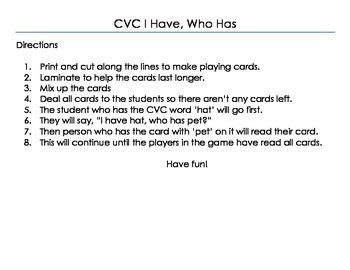 CVC I Have, Who Has Game