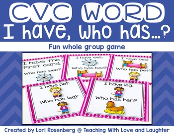 I Have Who Has Game {CVC Words}