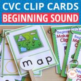 CVC Words | Beginning Sound Activity | Clip Cards for CVC word families
