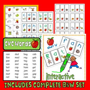 "PHONICS Interactive Segmenting Flashcards (CVC Short ""A"") ""Mystery Words"""