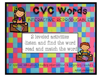 Multi-Level CVC Word Activities for Special Education or Kindergarten