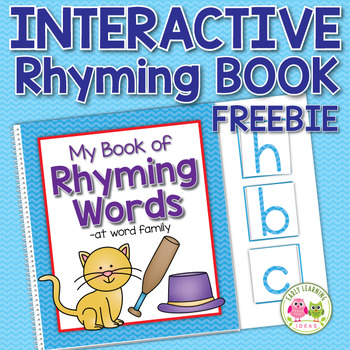 CVC Interactive Rhyming Book Freebie:  -at word family rhyming