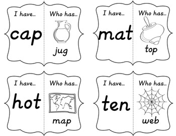 CVC Loop Game - I have...Who has: BLACK AND WHITE VERSION