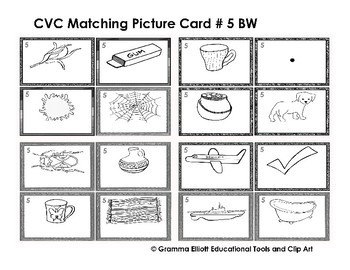 CVC Lotto Boards BW ONLY for Matching and Learning Games - LO PREP