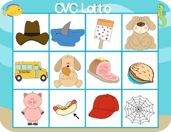 CVC Lotto Literacy Activity (Ocean-Theme or Basic Blue)