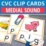 CVC Words Medial Sound Clip Cards