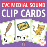 CVC Words Medial Sound Clip Cards