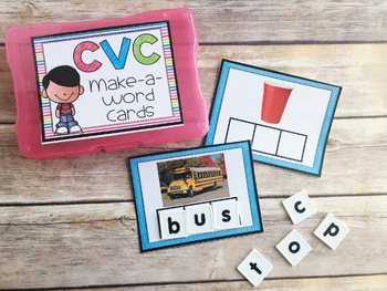 CVC Make-a-Word Phonics Cards with REAL Photos {Guided Reading Word Work}