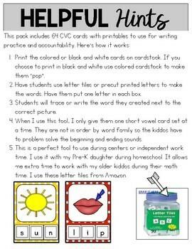 CVC Words {Make and Write Cards}