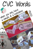 CVC Matchbox Words Freebie: onset and rime word families