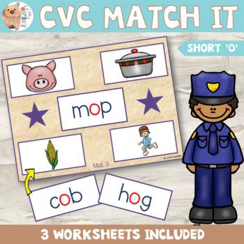 CVC Matching Activity - Short o Sound - Word Blending