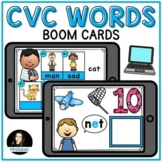 CVC Boom Cards Distance Learning Matching Words Digital Audio