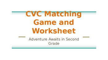 CVC Matching Game and Worksheet