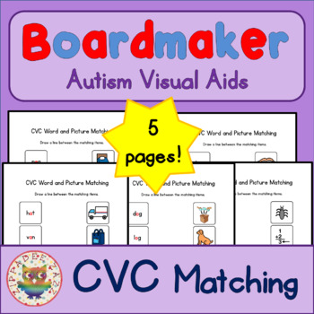 CVC Matching Sheets - Boardmaker Visual Aids for Autism