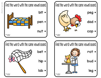 CVC Matching Short Vowel Sounds Clip Cards