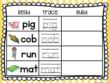 CVC Mats - Literacy Center - Read - Trace - Build Words