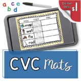 CVC Mats - Literacy Center - Read - Trace - Build Words