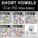 CVC Medial Vowel Clip Art Bundle (150 graphics) Whimsy Wor