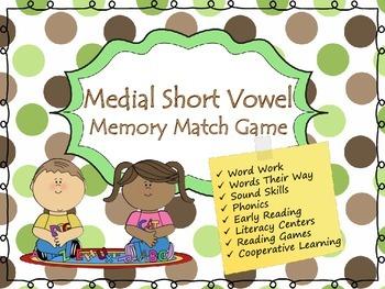 CVC Medial Vowel Phonics Memory Game (Short Vowel Sounds)