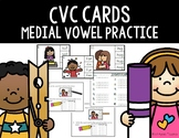 CVC Medial Vowel Sound Cards--Write and Wipe or Clip Cente