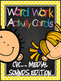 Word Work Activity Cards--CVC Isolating Medial Sound Edition