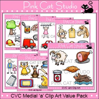 CVC Words Clip Art - Medial 'a' Value Pack