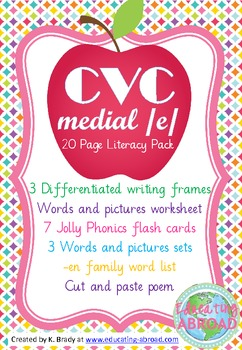 CVC Medial /e/ Literacy Pack