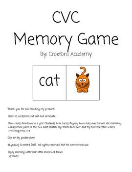 CVC Memory Game Literacy Center
