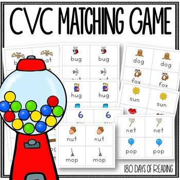 CVC Memory Game for Beginning Readers